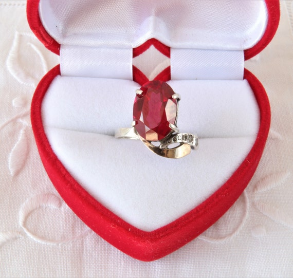 Vintage Ruby Ring, Silver Ring Red Ruby, Ring 925… - image 1