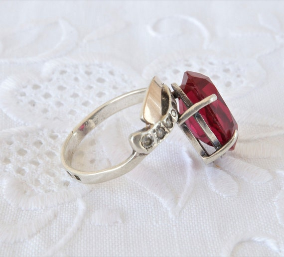 Vintage Ruby Ring, Silver Ring Red Ruby, Ring 925… - image 7