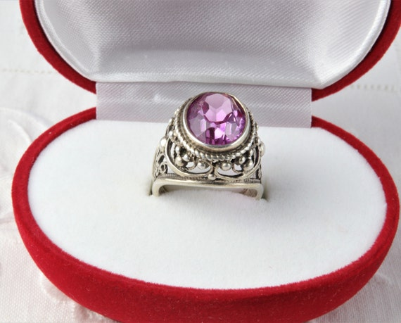 Soviet Ruby Ring, Red Ruby, 875 Silver, Gold Plat… - image 1