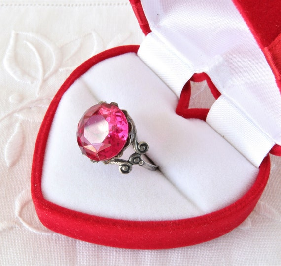 Soviet Vintage Ring, Red Ruby Ring, 875 Silver Ri… - image 2