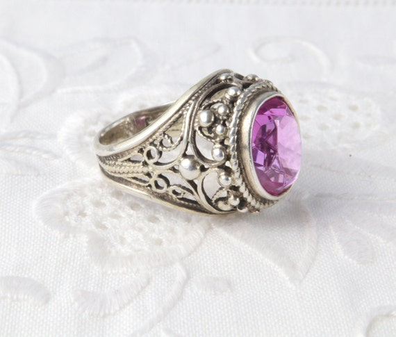 Soviet Ruby Ring, Red Ruby, 875 Silver, Gold Plat… - image 7