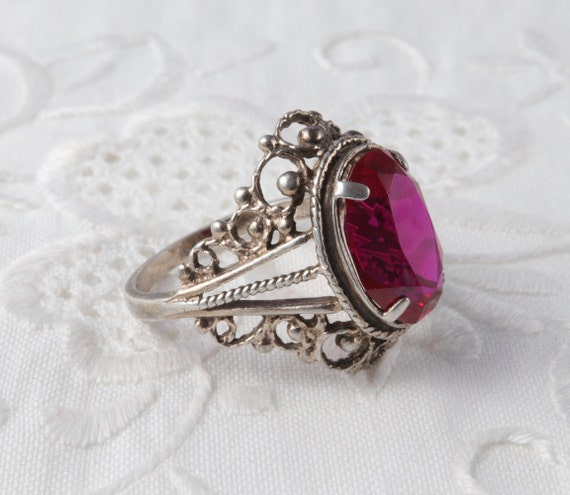 Red Ruby Ring, Silver Ruby Ring, Vintage Soviet R… - image 7