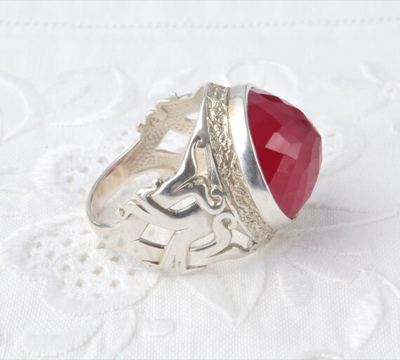 Silver Ruby Ring, Large Red Ruby Ring, Red Ring U… - image 8
