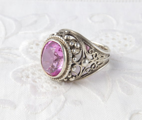 Soviet Ruby Ring, Red Ruby, 875 Silver, Gold Plat… - image 6