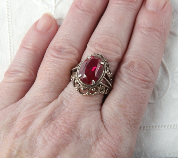 Red Ruby Ring, Silver Ruby Ring, Vintage Soviet R… - image 10