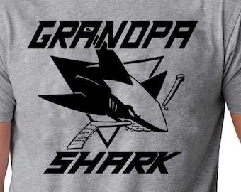 684fc7cd0 Grandpa Shark doo doo doo Father's Day Gift T-Shirt Hockey Grandpa Shirt  Hockey Grandfather Shirt Hockey shirt Grandfathers Hockey Shirt