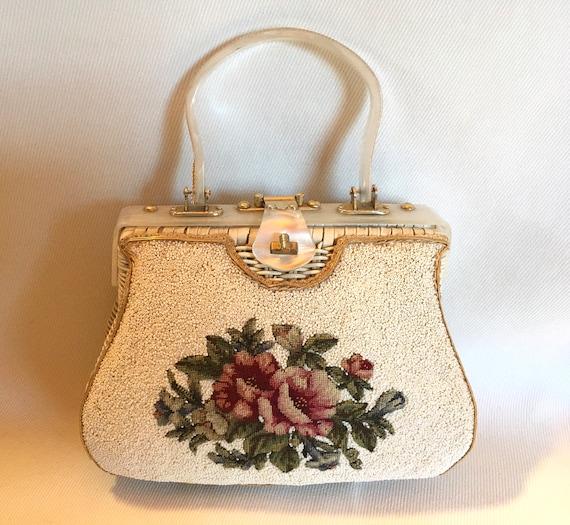 1950's White Beaded Chintz Rose Handmade Embroider