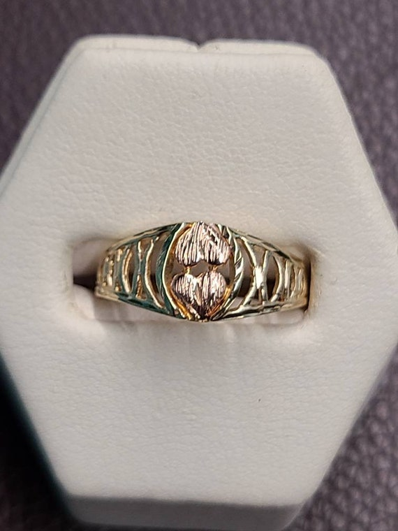 14K Two Tone Two Heart Ring