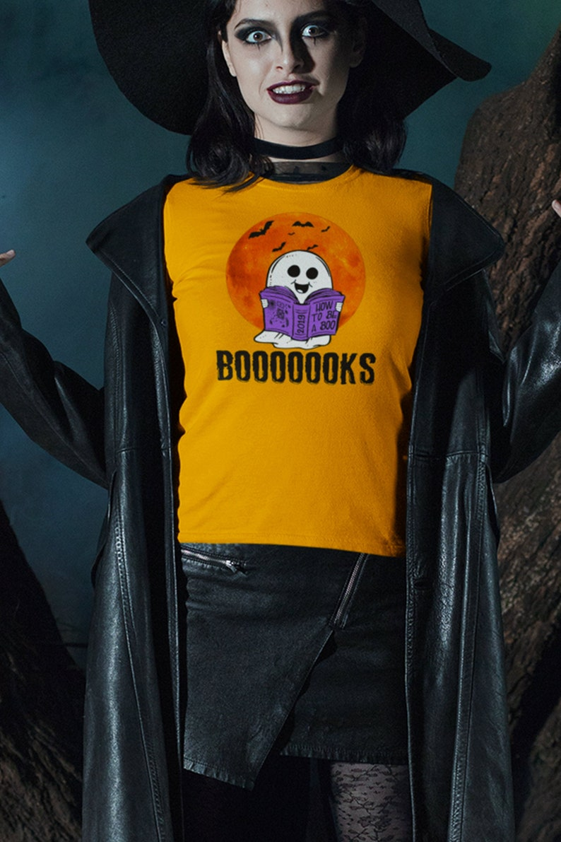 Booooooks Shirt Ghost Read Shirt Ghost Reading T-Shirt Funny image 0