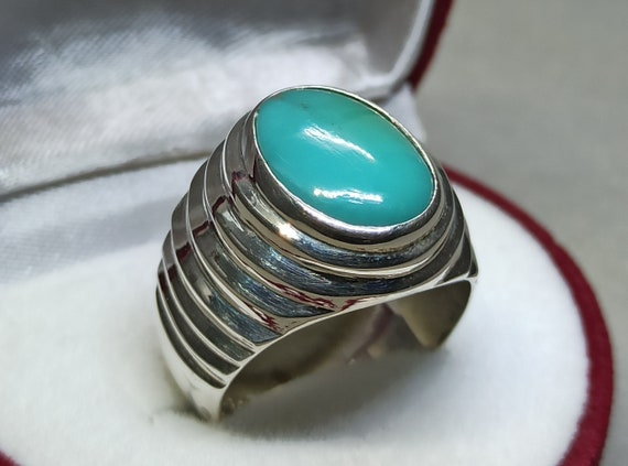 Very Old Real Mens Sabza Ring 925 Sterling Silver Green Turquoise Ring Mens Feroza Ring Handmade Ring Unheated Untreated Firoza Ring