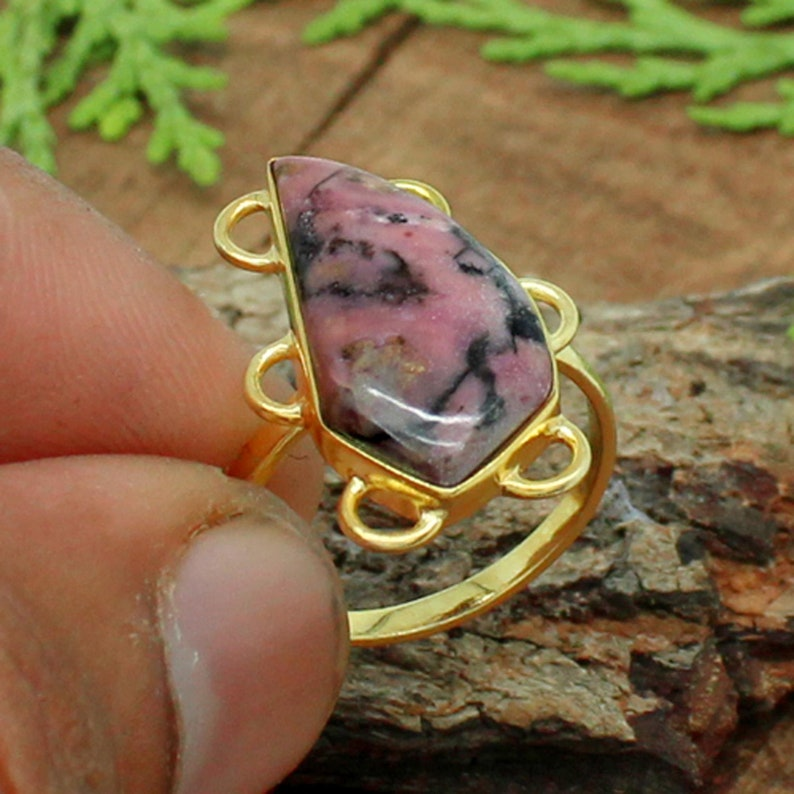 Rhodonite Ring Silver Natural Rohodnite Stone Ring Unisex Ring Pink Stone Ring Natural Gemstone Ring Gift for Her Rhodonite Jewelry
