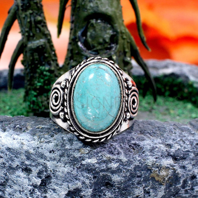Turquoise Gemstone Ring December Birthstone Ring Christmas Sale Natural Turquoise 14x10mm Oval Gemstone Oxidized Sterling Silver Ring