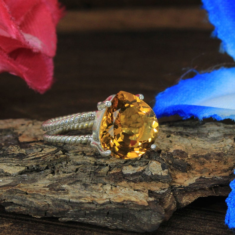 Twisted Double Band Handmade Sterling Silver Jewelry Natural Citrine Gemstone Ring