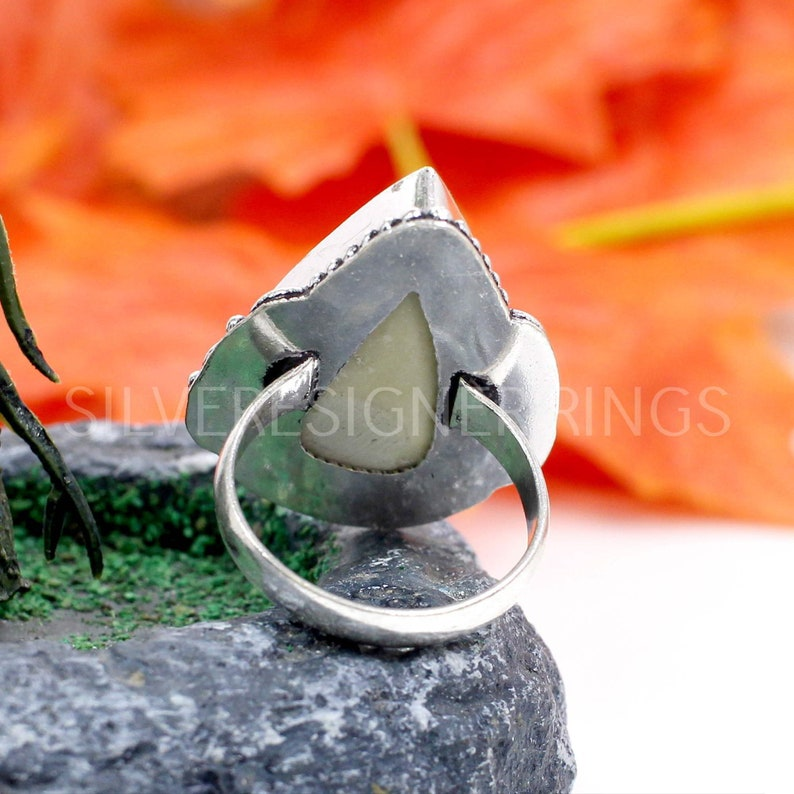 Silver Designer Ring Oxidized Sterling Silver Ring Pear Abalone Shell Ring Handmade Gemstone Ring -Gift for Her Christmas Gifts