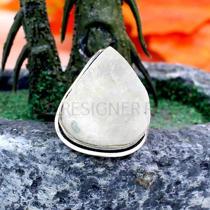 Bezel Ring Oxidized Sterling Silver Ring Boho Rings Raw Stone Ring Moonstone Rough Ring Christmas Sale Rainbow Moonstone Ring