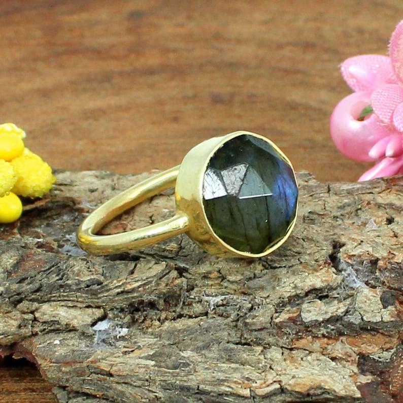 Blue Fire Labradorite Gemstone Sterling Silver Ring Bezel Ring Gypsy Rose Cut Gold Plated Ring Statement Ring Bohemian Gemstone Ring