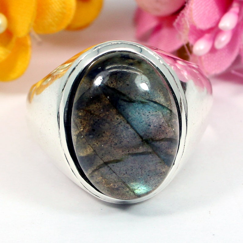 Bridesmaid* Solitaire Wide Band Organic Handmade Bridal Gypsy Statement Gift for her Labradorite Silver Ring Green Boho