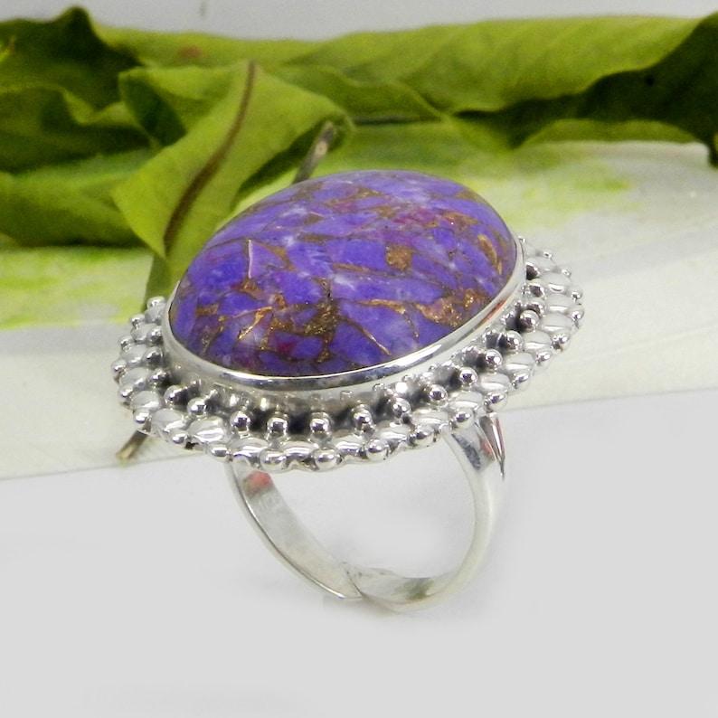 925 Sterling Silver Natural Turquoise Ring Purple Copper Turquoise Ring Gifts For Her-Turquoise Ring Designer Rings Natural Gemstones