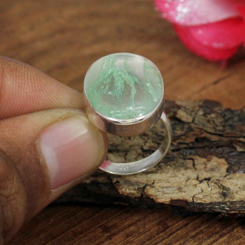 Handmade Ring,Statement Ring,Silver Gift Ring,Green Stone Ring Aqua Crackle Glass Ring,925 Sterling Silver Ring,Crackle Glass Gemstone Ring