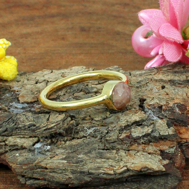 Rhodochrosite Ring Boho Pink Stone Ring Small Stone Ring Gold Plated Ring Gemstone Rings,Rhodochrosite Gemstone Sterling Silver Ring