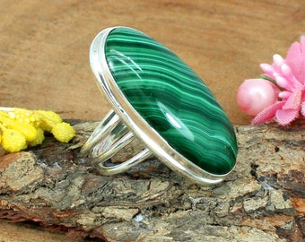 Oval Malachite Gemstone Ring, Long Malachite Ring, Three Layer, Large Malachite, Bezel Ring, Green Stone, Sterling Silver Ring, 925 Rings