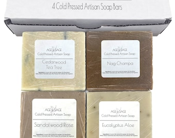 All Natural Mens Soap Bar - Bath Body Soap Gift Sets for Men - Handmade Organic, Moisturizing Scented Bath Soap Bars by Age of Sage (4 Pack)