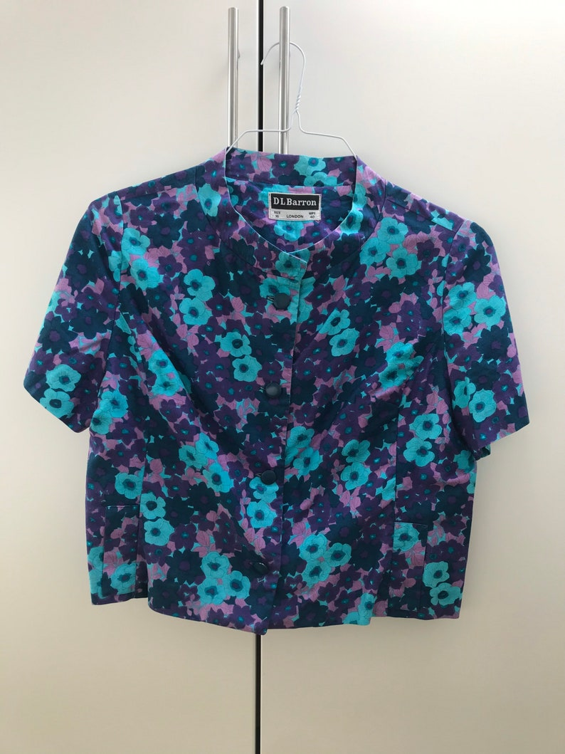 1960s70s cropped blouse in funky colours