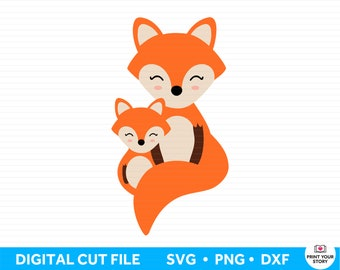 Fox SVG file for Cricut and Silhouette, DXF PNG Instant Digital Download, Baby Svg Family