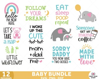 Baby SVG bundle for Nursery, Baby Shower, Newborn SVG files for Cricut and Silhouette