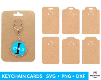 Keychain Display Card SVG, Keyring Card Template SVG for Cricut and Silhouette