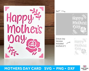 Mothers Day Card SVG for Cricut and Silhouette, Mom Greeting Card SVG with Flowers, Mothers Day Greeting Card Cricut