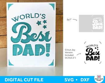 Happy Fathers Day Card SVG for Cricut and Silhouette, Father's Day Greeting Card File