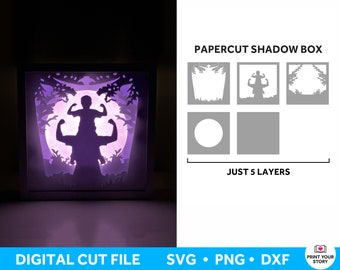 Father and Son SVG Shadow Box SVG, Fathers Day 3D Layered SVG file for Cricut and Silhouette