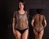 Sheer fishnet bodysuit-swimsuit women Size S-XL Black sexy mesh bodysuit