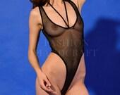 Verry sheer mesh thong bodysuit-swimsuit Back fishnet bodysuit