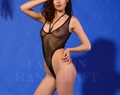 Sexy mesh sheer thong bodysuit
