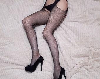 683d5499e38 Goth tights Black fishnet tights Crystal stockings Sexy tights Crystal  fishnet Party tights Mesh women's tights