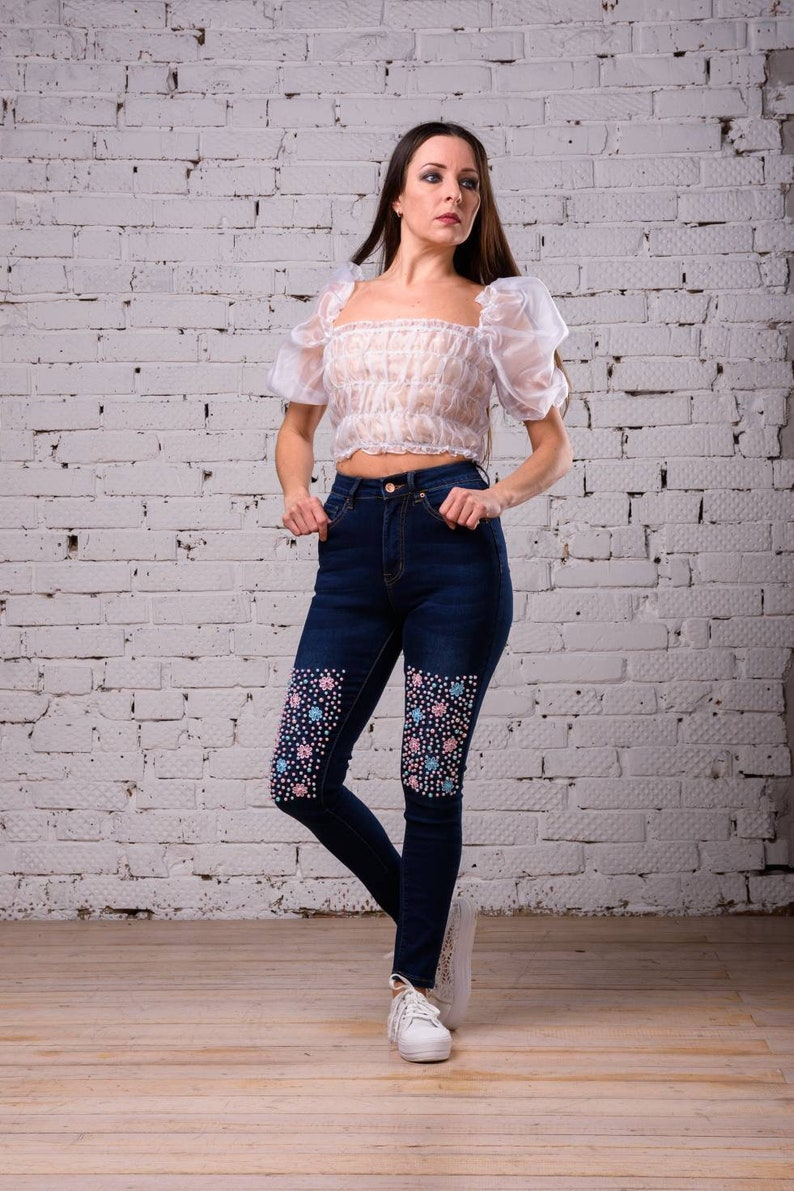 Crop top with full sleeve Evening womens blouse Summer romantic blouse Pirate blouse