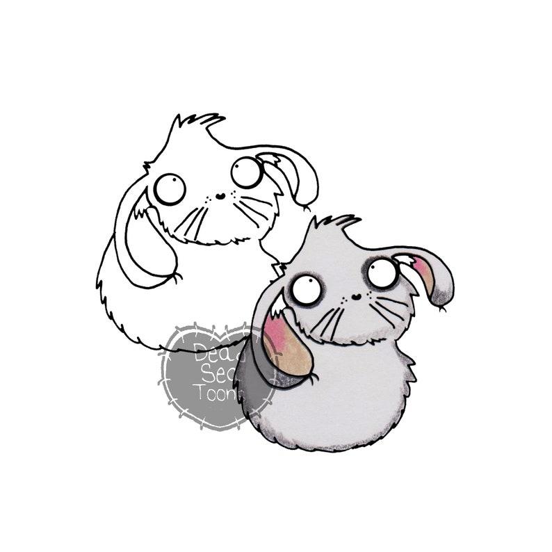 DST fluffy bunny Printable Digital Stamp Instant Download