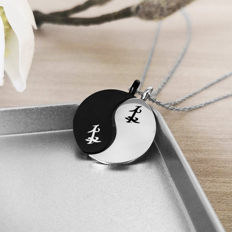 44eb8901e4244 Yin Yang Parabatai Friendship Necklace, Yin Yang Rune Necklace, Parabatai  necklace, Friendship Necklace, Valentines Day Gift, Malec, Geekery