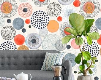 Removable Wallpaper - Grey Orange Watercolor Circle Shapes - Peel and Stick Wallpaper - Nursery Wallpaper - Self Adhesive Wallpaper