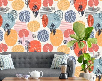 Removable Wallpaper - Blue Orange Watercolor Autumn Shapes - Peel and Stick Wallpaper - Nursery Wallpaper - Self Adhesive Wallpaper