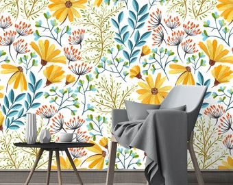 Removable Wallpaper - Colorful Spring Wild Flowers - Peel and Stick Wallpaper - Nursery Wallpaper - Self Adhesive Wallpaper