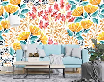 Removable Wallpaper - Colorful Summer Wild Flowers - Peel and Stick Wallpaper - Nursery Wallpaper - Self Adhesive Wallpaper