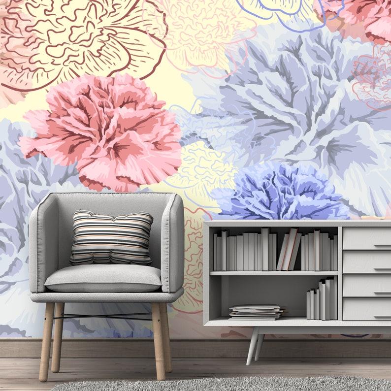 Self Adhesive Wallpaper Pastel Watercolor Peonies Removable Wallpaper Peel and Stick Wallpaper Nursery Wallpaper