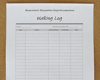 image about Printable Walking Log named Going for walks log Etsy