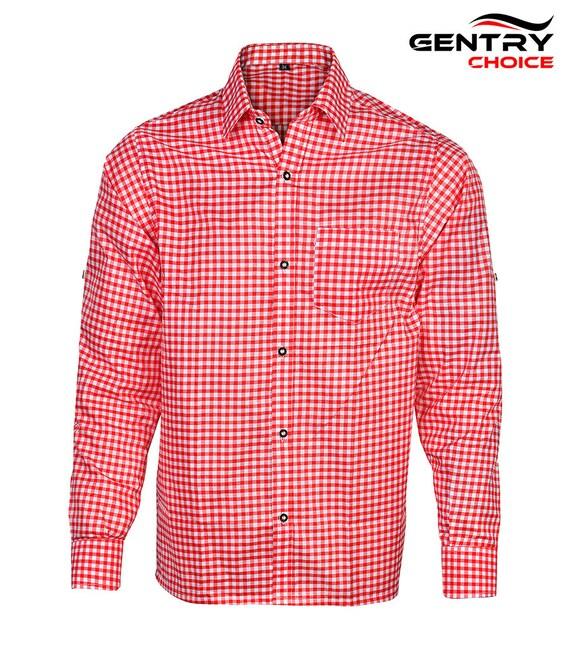Gentry Choice Oktoberfest Outfit Men Bavarian Shirt Full Sleeve Long Sea Blue
