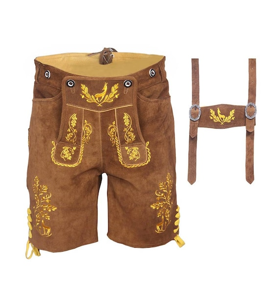 GERMAN-MEN-BAVARIAN-LEDERHOSEN-MEN-TRACHTEN OKTOBERFEST GENUINE LEATHER SHORTS