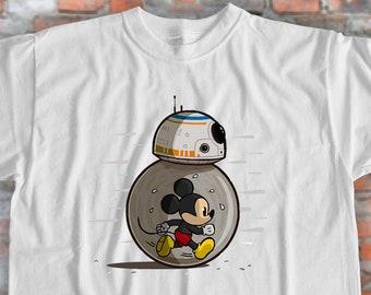 862b3f83e Mickey Mouse Shirt Star Wars Shirt BB-8 Mickey Shirt Funny Shirt Crossover Shirt  Cartoon Shirt Movie Shirt Tshirt Design Gift for Friend