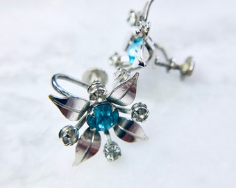 Earrings Signed B/&N Silver Tone Leaves with Large Blue Accent Rhinestone Center Clear Rhinestone Accents Vintage and Retro Jewelry and Gifts